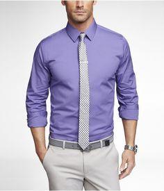 Purple Dress Shirt Black And White Tie Light Grey Pant Gray Belt