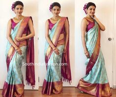 kajal aggarwal in blue silk saree at vidhatri shopping mall launch 1 Bridal Sarees South Indian, Indian Bridal Outfits, Wedding Silk Saree, Indian Bridal Fashion, Indian Dresses, Kanjivaram Sarees Silk, Blue Silk Saree, Indian Silk Sarees, Half Saree Designs