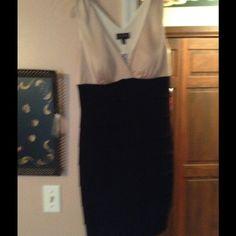 Dress Beige top with black layered bottom Enfocus.studio Dresses Midi