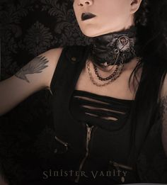 Steampunk Industrial Distressed Tattered Gothic Leather Choker Collar Skull Crossbones with Chains Jewelry Necklace