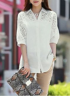 Shop Batwing Sleeve Polo Neck Lace Patchwork Loose Blouse on sale at Tidestore with trendy design and good price.Designer Clothes, Shoes & Bags for WomenLatest fashion trends in women's Blouses. Red Blouses, Blouses For Women, Blouse Styles, Blouse Designs, Blouse Dress, Blouse Online, Elegant Outfit, Beautiful Outfits, Tunic Tops