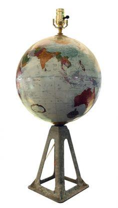 Globe lamp - mounted on vintage jack stand