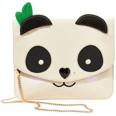 Betsey Johnson Cray Creatures Panda Clutch ($68) ❤ liked on Polyvore featuring bags, handbags, clutches, cream fabric, sequin handbags, cream purse, chain purse, gold clutches and rose gold purse