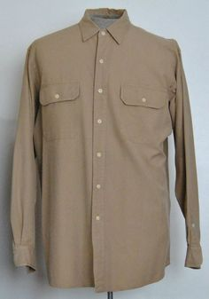 Ralph Lauren Polo Shirt L Mens Long Sleeve Tan Solid Cotton Point (Straight)  #RalphLaurenPolo free shipping Buy Now  $16.99