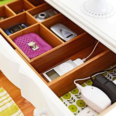 Outfitted with divided storage (typically used in kitchen drawers) and a power strip, this drawer serves as a charging dock and daily organizer for cell phones, music players, and other electronics: http://www.bhg.com/home-improvement/remodeling/budget-remodels/weekend-home-projects/?socsrc=bhgpin040414rechargeandreorder&page=4