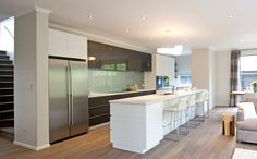 Large kitchen, with island bench and scullery. New Zealand Houses, Island Bench, House Inside, New Builds, Home Projects, Kitchen Dining, Building A House, New Homes, Home And Garden