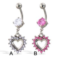 Belly button ring with big gem and dangling jeweled heart Belly Rings, Belly Button Rings, Heart Piercing, Body Jewelry, Dangles, Gems, Buttons, Big, Rings