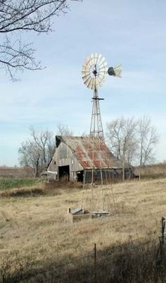 Old Farm Barn & Windmill By Old Well