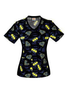 20039acdf9b Show off your superhero fandom in this Cherokee Tooniforms Justice League print  scrub top, featuring