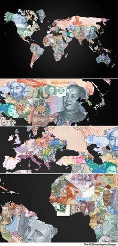 지폐로 만든 세계 지도