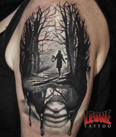 Lonely Women In Jungle Surreal Tattoo Idea