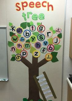 or just an alphabet tree - aka chicka chicka boom boom tree. help learn and identify the alphabet Speech Pathology, Speech Language Pathology, Speech And Language, Language Arts, Speech Bulletin Boards, Speech Classroom Decor, Preschool Room Decor, Classroom Ideas, Love Speech