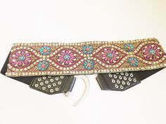 Rhinestone Silver Buckle,Studs, Stretch Belt,Embroidered,Waistband,Free Shipping #Unbranded