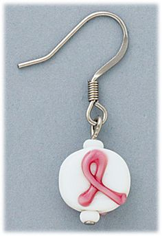pierced earrings silver French hook with pink ribbon bead