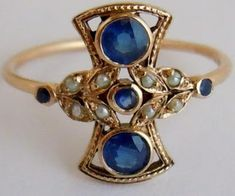 Superb Vintage Sapphire & Pearl 9ct Gold Ring listed on eBay by mackintosh_house. Via Diamonds in the Library.