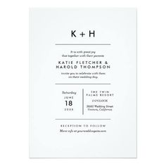 Ideas and inspiration for printed wedding stationery. Black and white party invite. K + H.