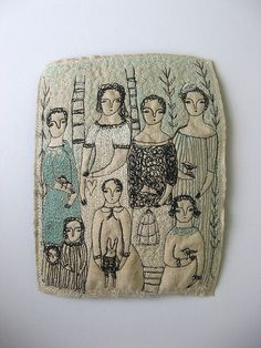 Cathy Cullis (I believe this is machine stitched...but could also do something like this by hand.)