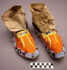 Sioux moccasins with beadwork and porcupine quillwork