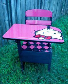 Hello Kitty School Desk by TrashybyAlisha on Etsy, $175.00