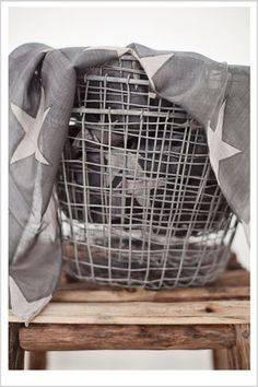 ~grey mood~basket of stars~ Touch Of Gray, Vintage Romance, Look At The Stars, Wire Baskets, 50 Shades Of Grey, Interior Styling, Favorite Color, Gray Color, Sweet Home