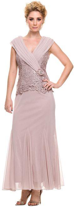 Plus Size V Neck Mother Bride Gown Sand Lace Bodice Mermaid Hem Sale: $159.99 #discountdressshop #motherofthebridedress