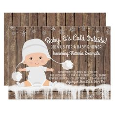 Rustic Snowflake Baby its Cold Outside Baby Shower Invitation Cute invitations for a winter baby shower! Baby Shower Cards, Baby Shower Parties, Baby Shower Themes, Baby Boy Shower, Shower Party, Baby Shower Invitation Templates, Baby Shower Invitations For Boys, Babyshower Invites, Baby Invitations