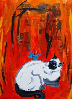 La chatte, schilderij van Nelly Biessen | Abstract | Modern | Kunst