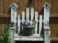 Barn board birdhouse bench