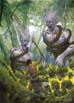 Enoch confronts the fallen angels Ancient Aliens, Ancient Art, Ancient History, Angels And Demons, Fallen Angels, Nephilim Giants, Giant Skeleton, Biblical Art, Black History Facts