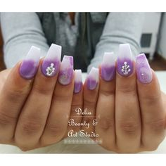 Purple ombre nails, white and purple nails, swarovski crystals, acrylics, coffin nails.