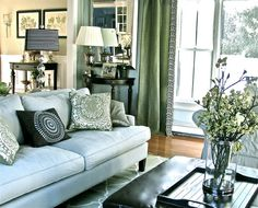 Future formal living room idea...love! Alysia Grey Green And Navy Design (but reverse - lt grey panels with green greek key trim to offset dark sofa)