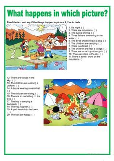 Picture description - What happens in which picture - English ESL Worksheets for distance learning and physical classrooms English Grammar For Kids, English Worksheets For Kids, English Activities, Primary English, Teaching English, English Creative Writing, English Writing Skills, English Lessons, Writing Practice Worksheets