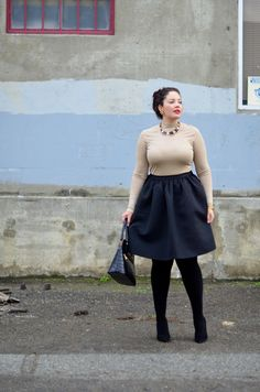 |WEARING| Forever 21 Top, H&M Skirt and Tights (similar here), Vintage Earrings, BCBG Necklace (similar here under $20), Bangle from India, Forever 21