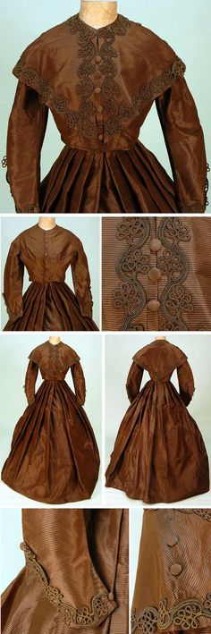 Ribbed silk visiting dress with pelerine, ca. 1865. Three-piece chestnut satin with woven gold horizontal rib. Bodice with silk-covered faux front buttons over hook & eye closures, straight bottom, sleeve. Matching pelerine with scrolling leaf pattern soutache in chestnut with striped brown and white. Skirt pleated at waist for fullness, glazed cotton lining. Whitaker Auctions