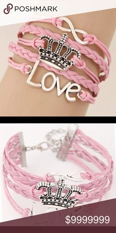 COMING SOON Pink & Silver Tone Love Crown Infinite Multi-Layer Weaved Fashion Bracelet Jewelry Bracelets