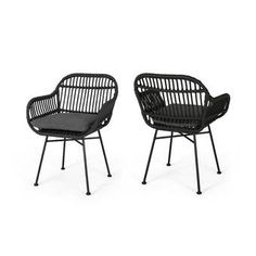 Orlando Outdoor Woven Faux Rattan Chairs with Cushions (Set of by Christopher Knight Home (Gray, Dark Gray, Black Finish), Gray/Dark Gray/Black Finish, Patio Furniture (Steel) Wicker Chairs, Patio Chairs, Outdoor Chairs, Outdoor Furniture, Outdoor Decor, Dining Chairs, Outdoor Balcony, Outdoor Lounge, Lounge Chairs