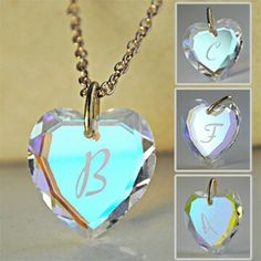 Crystal Aurora Borealis Iridescent Opaline Heart Necklace with your Initial - Initial Jewelry were very popular in my day!