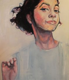"""""""Isabelle"""" - Ruth Shively, oil on panel {contemporary figurative artist female head hand woman face portrait cropped painting"""