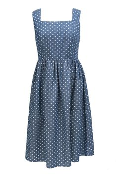 Denim Spotty Lace Back Midi | Lowie