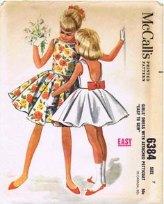 McCall's 6384 - Pretty Bow Back Dress -- Mom made this dress for me and my two sisters in red, royal, and teal.  I loved it!!  kd