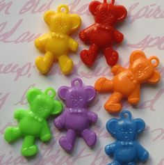 Plastic Teddy Bear Charms 8 by BohemianFindings on Etsy, $2.75