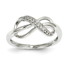 14kt White Gold Diamond Infinity Ring. {Q:Y9636AA}