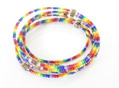 Multi Strand Rainbow Wrap Bangle Bracelet, Handmade Rainbow Bracelet, Wrap Jewelry
