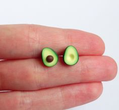 Green miniature avocado ear studs stud earrings asymmetric pair healthy food superfood funny earrings by ShinyStuffCreations on Etsy https://www.etsy.com/uk/listing/476162784/green-miniature-avocado-ear-studs-stud