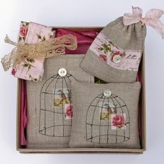 A beautiful set x Needle book. Made with pure Irish Linen featuring a embroidered bird cage on the front with vintage bird image and finished with a tiny Mother of Pearl button. Inside are 6 soft pink felt pages. The needle book tie. Embroidery Applique, Embroidery Stitches, Machine Embroidery, Embroidery Designs, Fabric Art, Fabric Crafts, Sewing Crafts, Sewing Projects, Bird Template