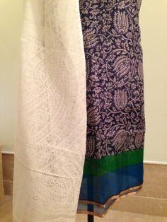 Kota silk shirt with Chanderi dupatta. For orders and inquiries, please mail us at naari@aninditacreations.com.  Like us at www.facebook.com/naari.aninditacreations