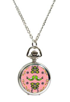 Folk Art Pendant Fob Watch Necklace available at www.allgiftsonline.com.au