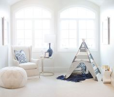 White and Navy Baby Boy Nursery with adorable Teepee!