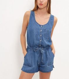 Blue Single Pocket Button Front Denim Playsuit | New Look