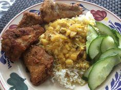 Basmati rijst, dahl en gebakken wijting.